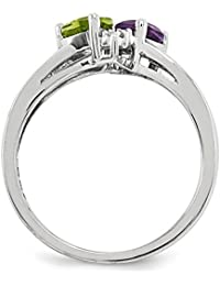 Sterling Silver Amethyst Peridot Diamond Ring (Color H-I, Clarity SI2-I1)