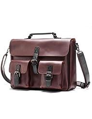 BAIGIO Vintage Briefcase 14 Laptop Shoulder Bag Business Office Messenger Work Bag (Brown)