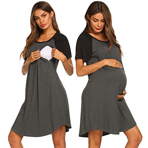 Meaneor Women/'s Maternity Nightdress Breastfeeding Nightwear Short Sleeve Nursing Nightgown Sleep Shirt Pajama Tops Soft Loungwear for Pregnant Women