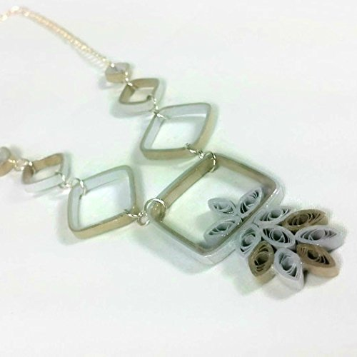 Mixed Metals Handmade Geometric Necklace Silver and Gold Paper Quilling