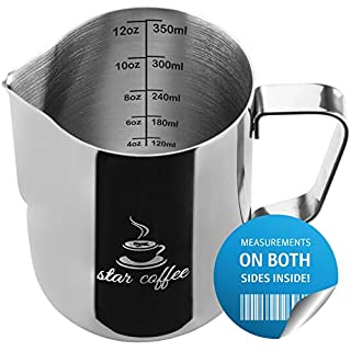 Milk Frothing Pitcher 12oz - Star Coffee Steaming Pitchers 12 20 30oz - Measurements on Both Sides Inside Plus eBook - Perfect for Espresso Machines, Milk Frothers, Latte Art - Stainless Steel Jug