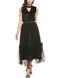 Zeagoo Women's Tutu Tulle High Waisted Multi Layer Lace Long Maxi Skirt(Black,White)
