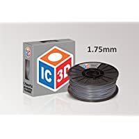 IC3D Grey 1.75mm PLA 3D Printer Filament - 2.1lb Spool - Dimensional Accuracy +/- 0.05mm - Professional Grade 3D Printing Filament - MADE IN USA