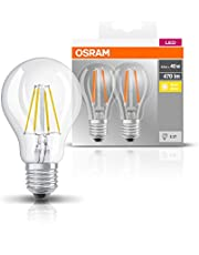OSRAM LED BASE CLASSIC A / LED lamp, classic bulb shape, in filament style, with screw base: E27, 4 W, 220…240 V, 40 W replacement, clear, 2700 K, 2pack
