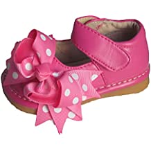 Squeaky Shoes Toddler Girls Pink Leather Bow Shoes