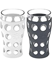 Lifefactory LF320414C4 20-oz 2-Pack 20 oz Indoor/Outdoor Glassware, Ounce, White & Carbon