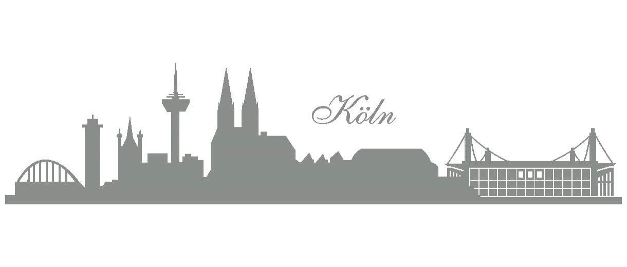Samunshi® Wandtattoo Köln Skyline Stadion in 6 Größen und 19 Farben (230x52cm schwarz) B00B1D10YA Wandtattoos & Wandbilder