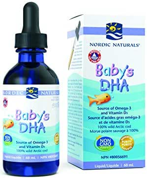 Nordic Naturals Baby's DHA Liquid - Omegas From Arctic Cod Liver Oil Support Brain, Vision and Healthy Development, With Vitamin A and Vitamin D3, 2 Ounce