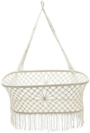 Baby Products White Cotton Baby Garden Hanging Hammock Baby Cribs Cotton Woven Rope Swing Patio Chair Seat Bedding Baby Care 908757cm Baby Products