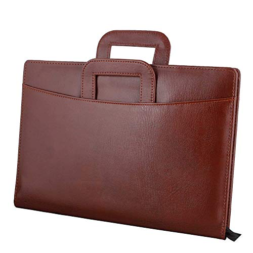 GOTIHOUSE Leatherette Material Professional File Folder for Certificates, Document Bag with Adjustable Handles (Brown, 5 Leafs)
