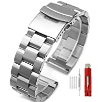 Silver/Black Stainless Steel Watch Bands Brushed Finish Watch Strap 18mm/20mm/22mm/24mm Double Buckle Bracelet