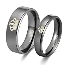 His & Hers Matching Set Couple Titanium and Tungsten Carbide We Are the Same Wedding Band Set (Available Sizes 5 to 10)