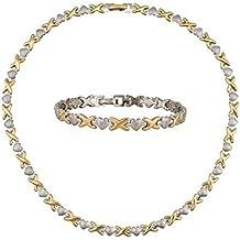 """Womens Jewelry Set Hearts Hugs & Kisses Necklace Bracelet Two Tone Necklace: 17.5"""" Bracelet: 7.5"""""""