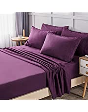 LIANLAM Bed Sheets - Super Soft Brushed Microfiber 1800 Thread Count - Breathable Luxury Sheets Set 16 Inch Deep Pocket - Wrinkle and Hypoallergenic