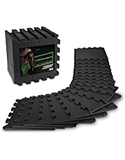 AthleticPro vloerbeschermingsmat fitness [31x31cm] - 18 extra dikke vloermatten [20% meer bescherming] - antislip beschermingsmatten voor fitnessruimte & fitnessapparaten