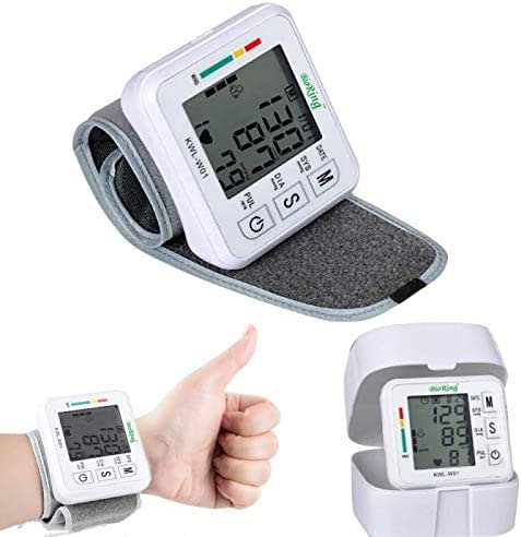 BioRing Wrist Automatic Blood Pressure Monitor with Pulse/Heart Rate Reading Easy to Use, One Push Ready Digital LCD Display Voice Function for Home and Travel (Wrist)