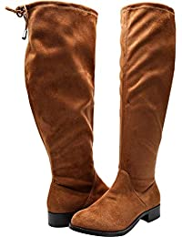 4efbcba196b6ba Women s Wide Width Over The Knee Boots - Stretchy Low Stacked Heel Vegan  Suede Pull on