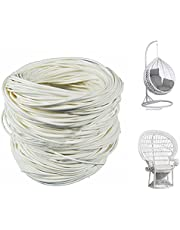 Wicker Repair Kit,Round Synthetic Rattan Fix Kit Vinyl Plastic Waterproof Flat Brown Woven Rattan Ribbon for Garden Patio Furniture and Rattan Chair Sofa Couch Basket Replacement-0.55LB(Round-White)