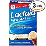 Lactaid Fast Act Tablets Vanilla Twist Flavor - 60 Tablets, Pack of 3