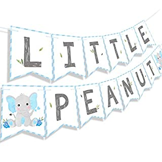Faisichocalato Blue Little Peanut Banner Blue Elephant Baby Shower Baby Boy Welcome Baby Banner Elephant Party Supplies Decorations