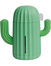 Ucan Mini Humidifier 340 ml Ultrasonic USB Charge Cactus-Shaped Portable Air Humidifiers with Night Light for Home Bedroom Office Yoga Car Travel (Green)