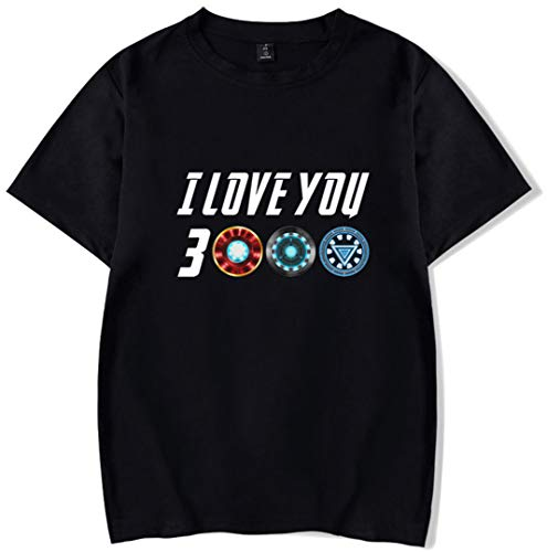 Silver Basic Top de Manga Corta para Mujer Te Quiero Camiseta de Verano Iron-Man de I Love You 3000 Avengers Negro-4 S…