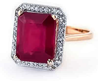 7.45 Carat 14K Solid White Rose Yellow Gold Emerald Cut Octagon Shape Natural Ruby Halo Design with Natural Diamond Ring - Anniversary, Promise, Engagement Ring, Sizeable for her.