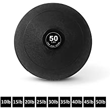 Day 1 Fitness Weighted Slam Ball – 9 Sizes Available, 10-50 Pounds - No Bounce Medicine Ball - Gym Equipment Accessories for High Intensity Exercise, Functional Strength Training, Cardio, CrossFit, and Plyometrics
