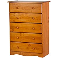 "Palace Imports 53104 100% Solid Wood 5-Drawer Chest Color, 32""w x 44.5""h x 17""d. Requires Assembly, Honey Pine"