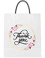 White Paper Bags with Handles | Best for Birthday Gift Bags, Wholesale Supplies, Gift Wrapping Bags, Thank You Gift, Party Bags, Retail Shopping Wholesale, Baby Shower