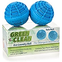Reusable Non-Toxic Green Clean Eco Washer Laundry Balls - Environmentally Friendly All Natural Alternative Laundry Detergent, Eco Friendly and Chemical Free, (Pack of 2)