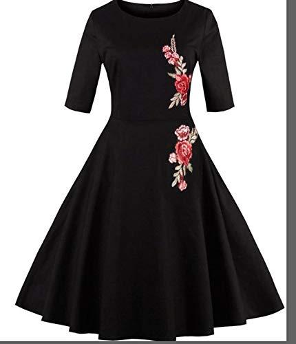 LYQTONG Vintage Applique Embroidery Skirt Round Neck Half Sleeve Elegant Skirt Women's Large Swing Skirt, XL