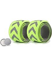 TBoonor Led-armband, 2 stuks, reflectorbanden voor 's nachts en voor kinderen en volwassenen, helder knipperlicht, reflectorbanden voor outdoorsport, nachtlopen en joggen