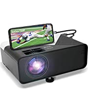 GRC Mini Projector, Full HD 1080 Supported Native 720P Projector Movie Projector, with Built-in HiFi Sound Speaker, Compatible with TV Stick HDMI USB AV DVD for Multimedia Home Theater/ Outdoor Movie