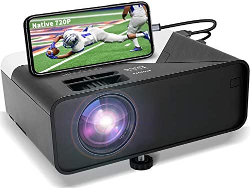 GRC Mini Projector, Full HD 1080 Supported Native 720P Projector Film Projector, with Constructed-in HiFi Sound Speaker, Appropriate with TV Stick HDMI USB AV DVD for Multimedia Dwelling Theater/ Outside Film