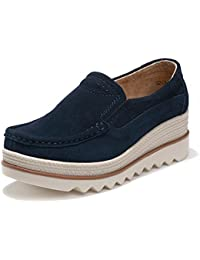 Women Platform Slip On Loafers Comfort Suede Moccasins Wide Low Top Wedge Shoes