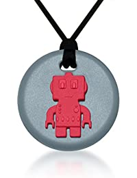 Robot Pendant - Silicone Necklace (Teething/Sensory) (Red)