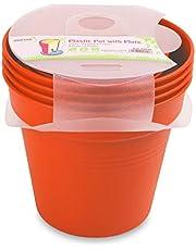 وعاء زرع بلاستيك بالطبق من مينترا، 15سم، عبوة 4، برتقالي