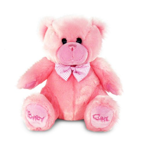 Soft 'Baby Girl' 28cm sitting bear with bow by Keel Toys
