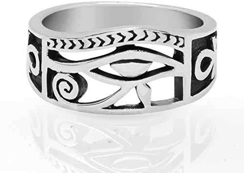 925 Sterling Silver Eye of Horus Egyptian Symbol of Protection Unisex Band Ring 6, 7, 8