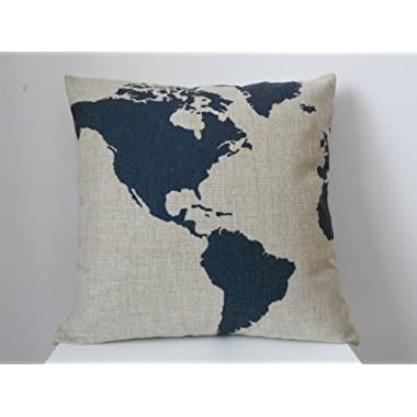 Decorbox Cotton Linen Square Throw Pillow Case Decorative Fashion Cushion Cover Pillowcase Captain Blue Map 18  X18   (B, 45CM*45CM)