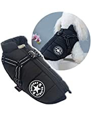 Dog Winter Coat Harness, Outdoor Warm Small Dog Jacket, Cold Weather Padded Dog Vest Apparel Clothes for Cats Puppy Small Dogs