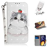 Strap 3D Wallet Case for Samsung Galaxy M40/A60,Aoucase Ultra Slim Fancy Painted Magnetic Soft Silicone Card Slot Stand PU Leather Case with Black Dual-use Stylus - Clever Cat
