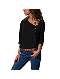 KOERIM Women's V Neck Long Sleeve Button Chiffon Solid Blouse Loose Tops