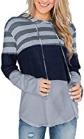 Sundray Womens Color Block Hoodies Long Sleeve Striped Drawstring Pullover Sweatshirts