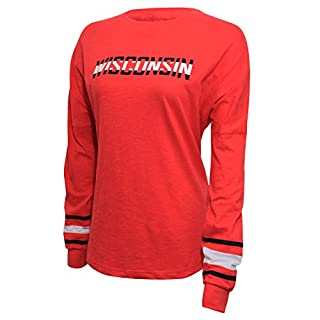 NCAA Wisconsin Badgers Women's Campus Specialties Long Sleeve Fan Tee, X-Large, Red