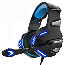 Surround Sound Headphone Gaming Headset Mic Headphones Stereo 3.5mm for PC PS3 PS4 Xbox ONE Controller (Blue)