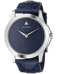 Quartz Stainless Steel and Leather Casual Blue Watch (Model: YA1264032)