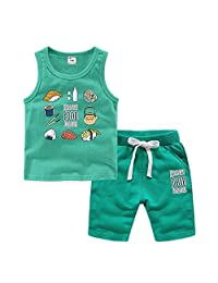 Kids Cotton Tank Top Undershirts Children's Crew Neck Undershirts Tank Top Short Set Cute Cartoon Sushi Print Vest Sports Suit Cotton Sleeveless T-Shirts for Boys and Girls for Boys or Girls