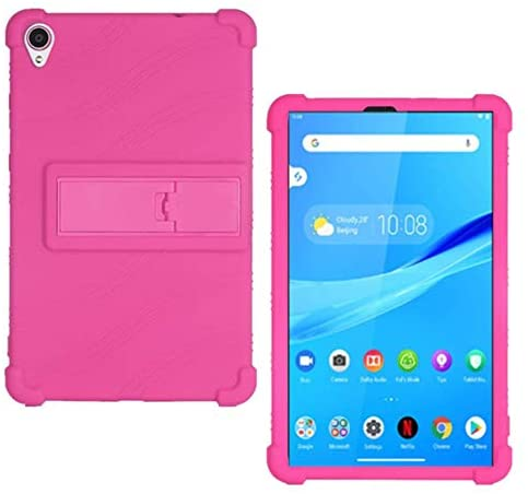 HminSen Case for Lenovo Tab M8 FHD TB-8705F TB-8705N Kids Friendly Soft Silicone Adjustable Stand Cover for Lenovo Tab M8 TB-8505F TB-8505X TB-8505I Tablet Cases (Rose)